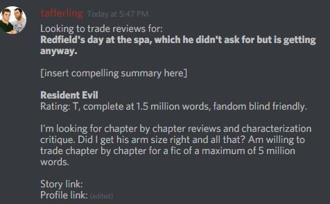 r/FanFiction Discord: #Review and Beta Trades – Tafferfield